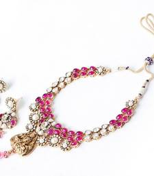 Buy Lakshmi Layered Kundan Polki Maharani Necklace - PINK necklace-set online