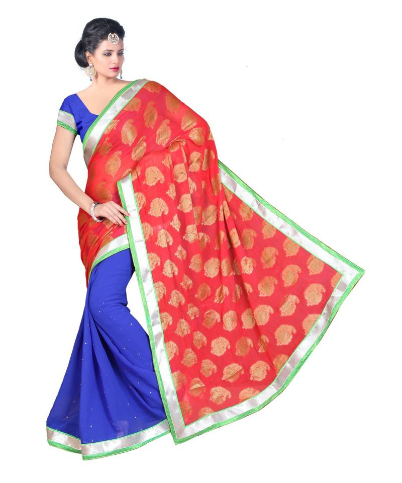 Buy Blue woven chiffon saree with blouse Online