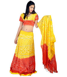 Buy Rajasthani Yellow Red Tie n dye Cotton Lehenga 301 navratri-lehenga-chaniya-choli online