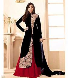 Buy Black embroidered Banglori silk semi stitched salwar with dupatta ethnic-suit online