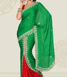 Buy Weeding Red and Green Color Satin Chiffon Party Wear Saree with Blouse chiffon-saree online