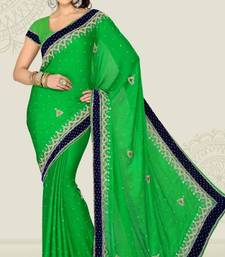 Buy Weeding Parrot Green Color Satin Chiffon Party Wear Saree with Blouse chiffon-saree online