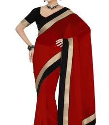 Buy New red color faux georgette party wear saree with blouse party-wear-saree online
