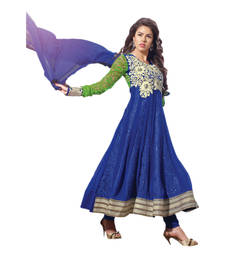 Buy Hypnotex Blue Georgette Brasso Sleeves Semi-Stitched Anarkali Suit Singham11004 semi-stitched-salwar-suit online
