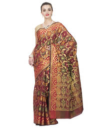 Buy Gold woven organza saree with blouse organza-saree online