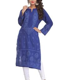 Buy Blue embroidered cotton kurtas-and-kurtis chikankari-kurti online