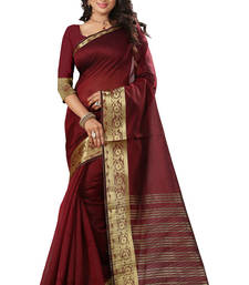 Buy Maroon plain art silk saree with blouse art-silk-saree online