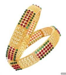 Buy ROYAL TRADIONAL ANTIQUE GOLDEN POTA STONE STUDDED HANDMADE BANGLE SET (2 PC) (POTA RED GREEN) - PCB1024 bangles-and-bracelet online