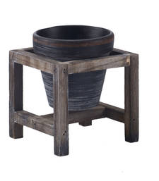 Buy Beautiful Smoky Grey 11 CM Planter Pot with Stand pot online