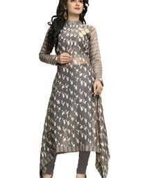Buy Dark grey printed cotton kurtas-and-kurtis party-wear-kurti online
