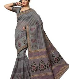 Buy Aria Grey cotton printed summer collection saree ks356 cotton-saree online