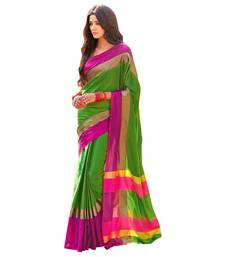 Buy Green plain cotton silk saree with blouse wedding-saree online