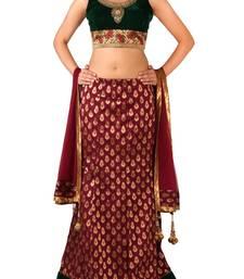Buy RAAS BROCADE, VELVET Maroon, Green Chaniya Choli velvet-saree online