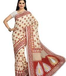 Buy Aria Cream cotton printed summer collection saree ks361 cotton-saree online
