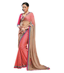 Buy Hypnotex Cream Maroon Chiffon  Cotton Saree Punam517 bridal-saree online