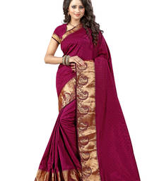 Buy Maroon woven cotton saree with blouse cotton-saree online