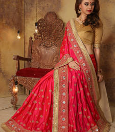 Buy Pink embroidered art silk saree with blouse party-wear-saree online