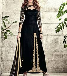 Buy Black embroidered velvet unstitched slawar with dupatta anarkali-salwar-kameez online