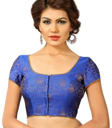 Buy Blue embroidred Brocade readymade-blouse readymade-blouse online