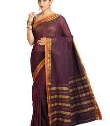Buy Pavecha's Mangalgiri Cotton Saree - Mangalsutra Brown cotton-saree online