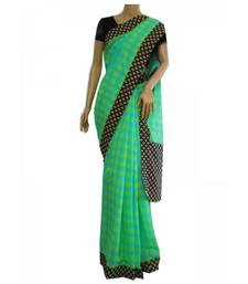 Buy Lime and turquoise checks Mangalgiri cotton saree cotton-saree online