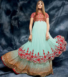 Buy Aqua blue embroidered net semi stitched salwar with dupatta wedding-salwar-kameez online