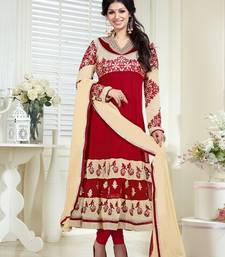 Buy Red Color Georgette Salwar kameez semi-stitched-salwar-suit online