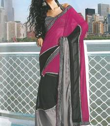 Buy Red-violet and Black Faux Georgette Printed Casual and Party Saree printed-saree online