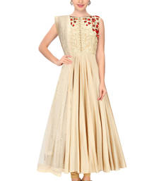Buy Beige embroidered satin semi stitched evening-wear-dresses evening-wear-dress online