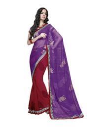 Buy Vishal Maroon Purple Georgette Saree HiddenSecret32915 party-wear-saree online