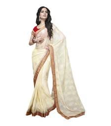 Buy Vishal Cream Brasso Saree HiddenSecret32905 party-wear-saree online