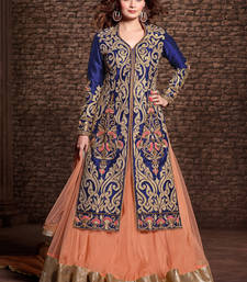 Buy Blue embroidered pure bhagalpuri silk semi stitched salwar with dupatta dress-material online