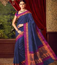 Buy Navy blue woven tussar silk saree with blouse tussar-silk-saree online