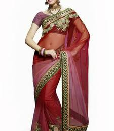 Buy Maroon and Pink net saree with blouse net-saree online