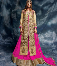 Buy Gold embroidered silk semi stitched salwar with dupatta wedding-salwar-kameez online