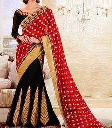 Buy Regal Red And Black Net and Faux Georgette Lehenga Saree With Blouse  georgette-saree online