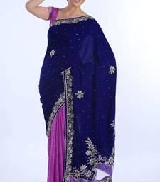 Buy Magenta and Navy Blue Velvet and Chiffon Jacquard Saree velvet-saree online