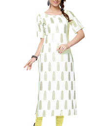 Buy white printed crepe stitched kurti long-kurti online