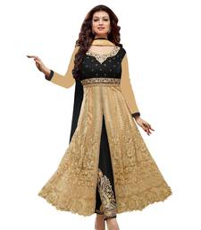 Buy Golden embroidered net semi stitched salwar with dupatta semi-stitched-salwar-suit online