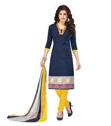 Buy Blue printed  cotton unstitched salwar with dupatta dress-material online