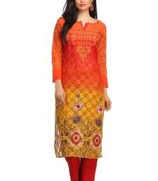 Buy Red embroidered cotton-kurtis chikankari-kurti online