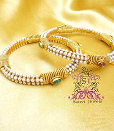 Buy Gorgeous White polki Bangels bangles-and-bracelet online
