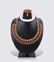 Buy Red 3-layered Necklace & Earring necklace-set online