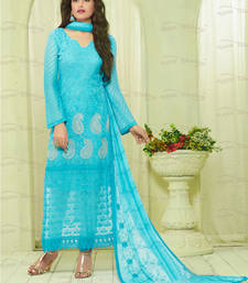 Buy Aqua blue embroidered chiffon unstitched salwar with dupatta dress-material online