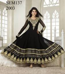 Buy Semi Stitched Kumud Black Embroidered Anarkali Suit semi-stitched-salwar-suit online