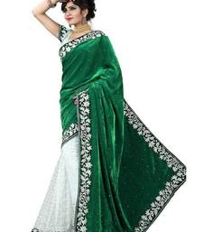 Buy Green embroidered velvet saree with blouse velvet-saree online