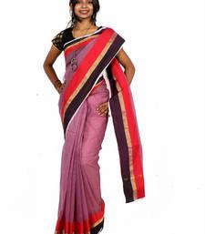 Buy Supernet cotton banarasi resham zari border saree supernet-saree online