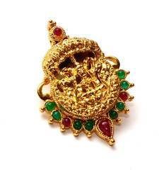 Buy Anvi's lakshmi pendent (temple locket) with rubies and emeralds Pendant online