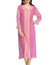 Buy Onion pink embroidered faux georgette embroidered-kurtis chikankari-kurti online