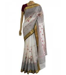 Buy White cotton saree with hand embroidered Kantha work cotton-saree online